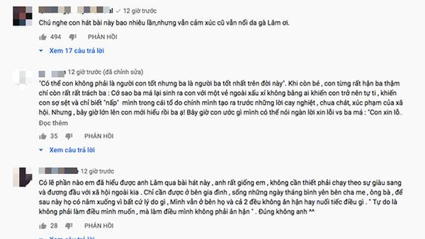 Những tình cảm của khán giả dành cho ca khúc của Hoài Lâm.