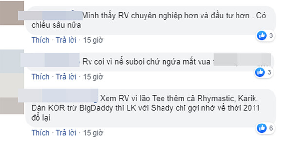 """Hàng loạt bình luận từ trên xuống dưới đều nhất loạt ngợi khen """"Rap Việt"""" hơn """"King of Rap""""."""