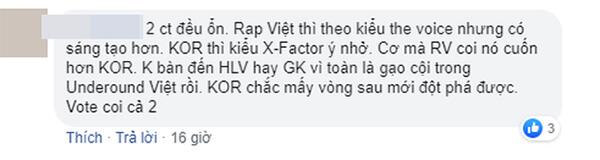 Một khán giả so với Rap Việt với King Of Rap như The Voice và X-Factor.
